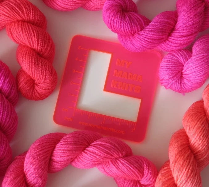 acrylic swatch rulers in neon pink orange for knitting and crochet
