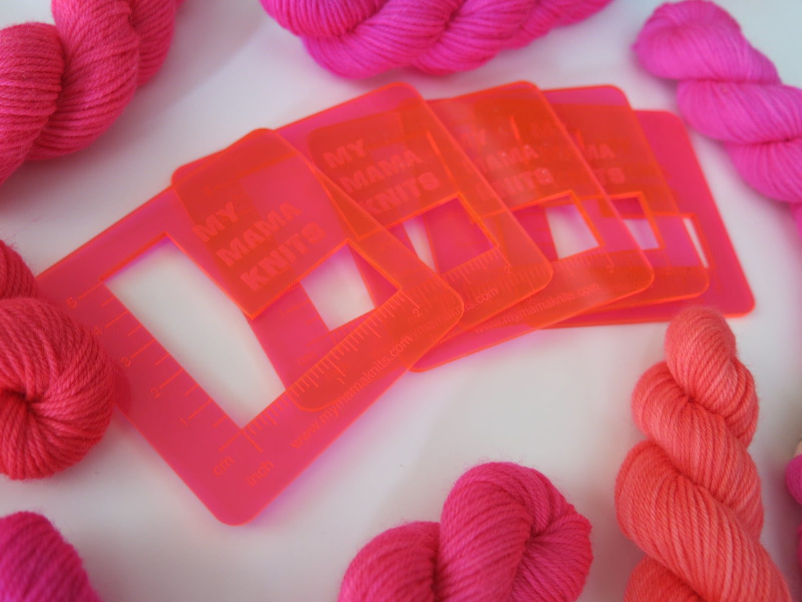 katrinkles acrylic swatch rulers in neon pink orange for knitting and crochet
