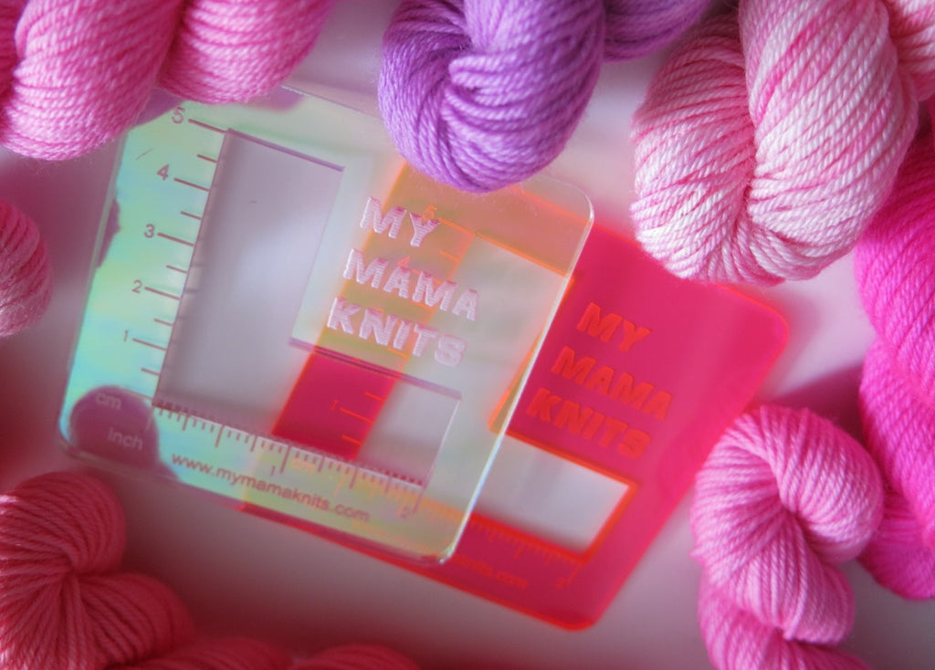acrylic swatch rulers in neon pink orange and pearl irridescent