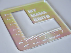 katrinkles acrylic swatch rulers in in irridescent colours for knitting and crochet