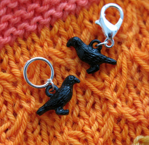 3d black raven or crow hanging charms for knitting or crochet