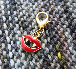 red enamel vampire lip charm on a lobster clasp for knitting and crochet