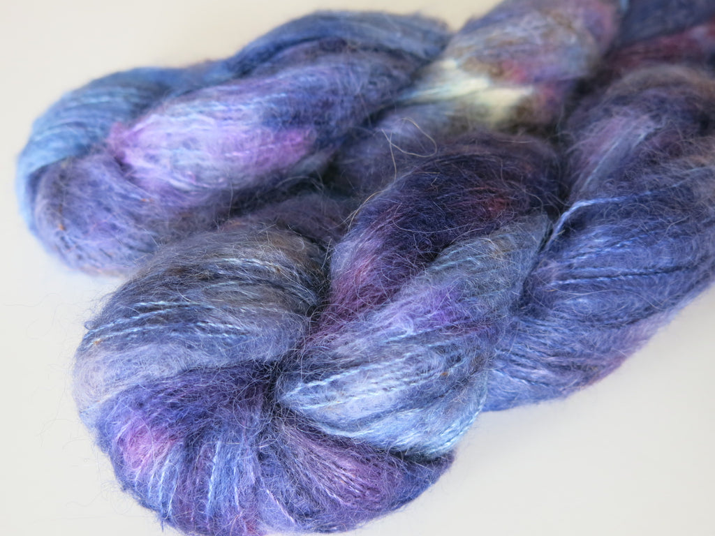 dark blue and purple suri alpaca and silk lace weight yarn skeins