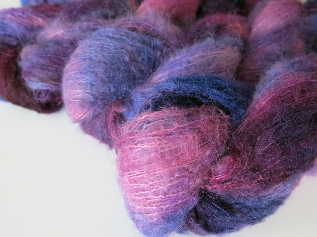 kettle dyed purples and blue suri alpaca and silk lace weight yarn skeins