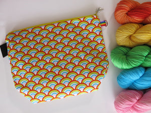 cotton zipper knitting project bags with a rainbow print