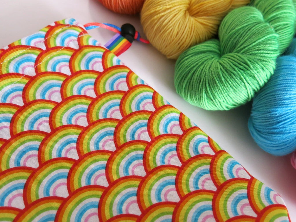 cotton drawstring knitting project bags with a rainbow print