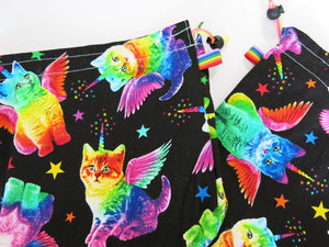 black cotton project bag with rainbow unicorn cats with wings