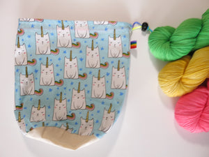 hand sewn cotton project bag with rainbow caticorns