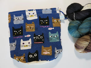 hand sewn cotton blue project bag with cat faces