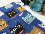 Dark Blue knitting project bag with cartoon cat faces