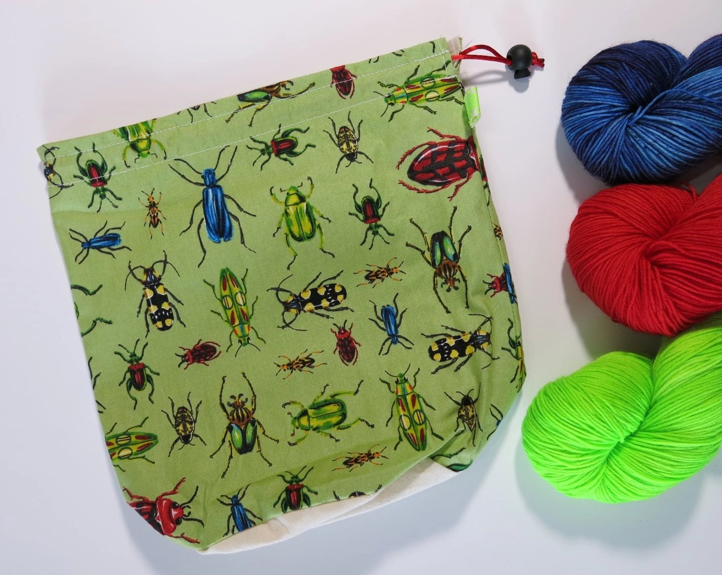 Bugs on Green Knitting Project Bag