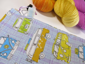 pastel purple cotton drawstring knitting project bag with vw campervans