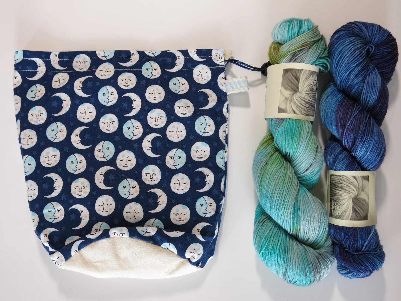 Happy Moon Phases Knitting Project Bag