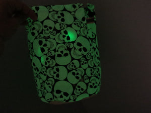 skull knitting bag glowing in the dark