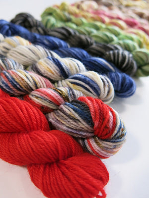hand dyed mini skein set inspired by scottish myth and folklore