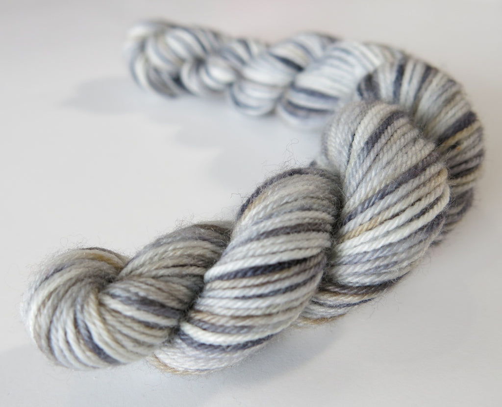 varieigated grey sock yarn mini skein for knitting and crochet