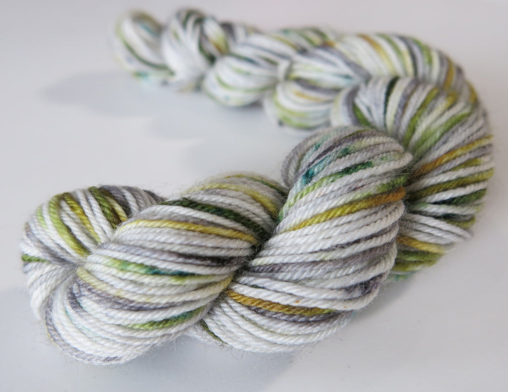 green and grey speckled merino sock yarn mini skein