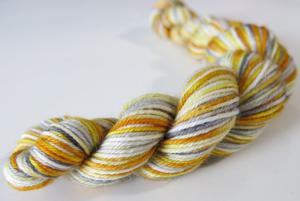 golden yellow grey and white merino sock yarn mini skeins