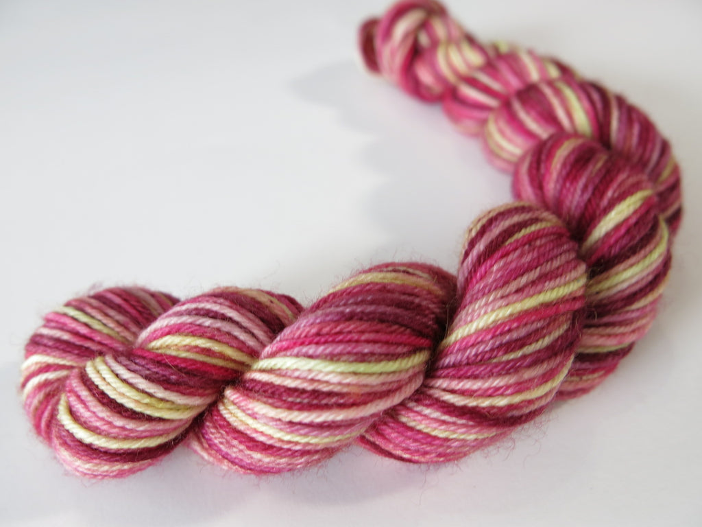 burgandy red and green sock yarn inspired by red sphagnum moss