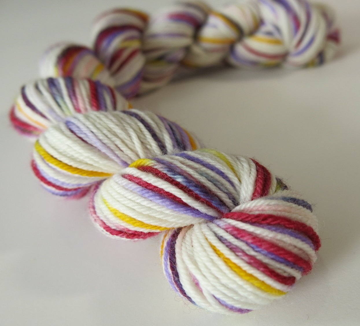4 ply sock yarn mini skeins inspired by the white rabbit in wonderland