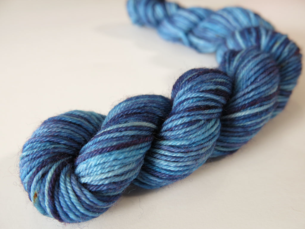 dark tonal blue 4 ply sock yarn mini skein for knitting and crochet