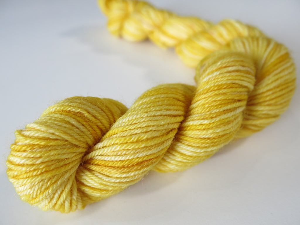 tonal golden yellow sock yarn mini skeins for knitting and crochet