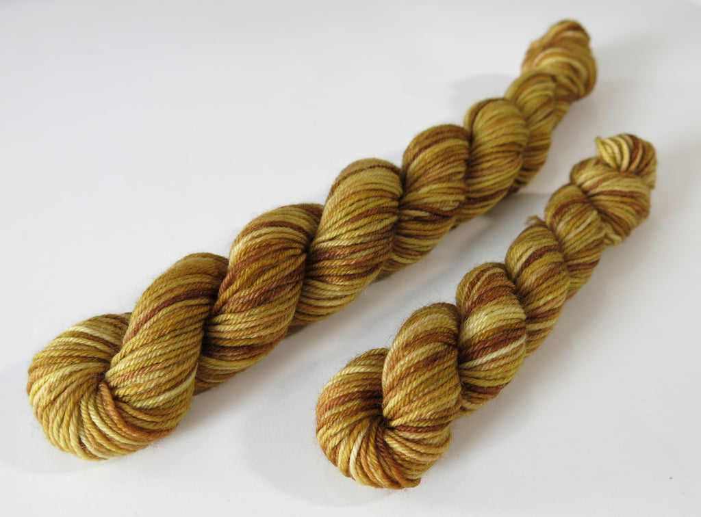 hand dyed tonal brown sock yarn mini skeins for knitting and crochet