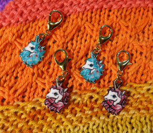 Pastel pink and blue enamel unicorn charm stitich markers on lobster clasps