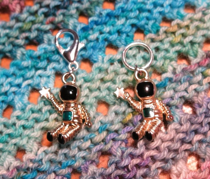 3d astronaught stitchmarkers on snagless rings or lobster clasps