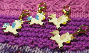Pastel pink and blue enamel baby unicorn charm stitich markers