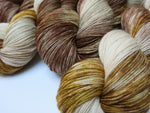 new mexico bull snake inspired indie dyed yarn in browns and creams