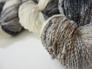 grey and white horse inspired 4ply slub yarn by my mama knits