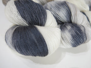 indie dyed lace weight yarn skeins in grey and white by my mama knits