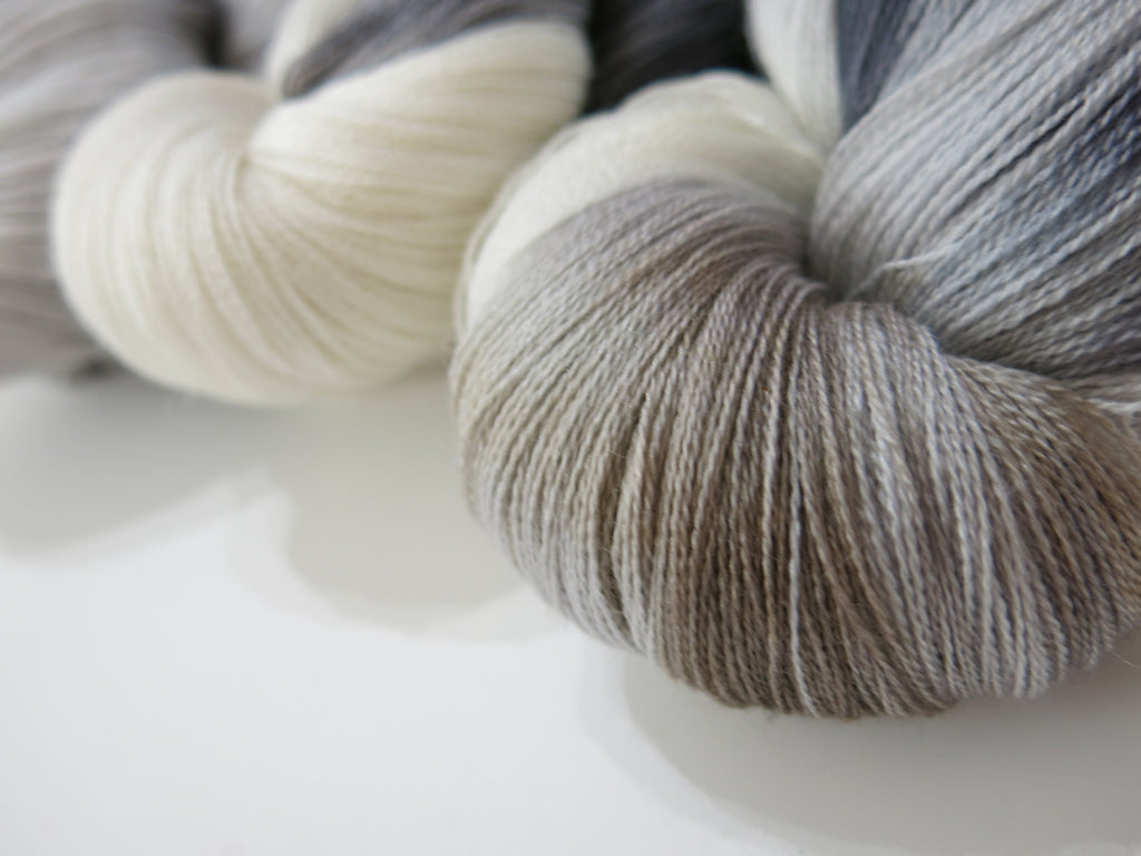 silk lace weight yarn handyed in greys and tans