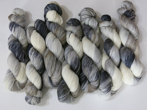 light and dark grey and white horse themed sock yarn for knitting and crochet