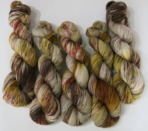 the great hand hand dyed yarn by my mama knits in speckled browns