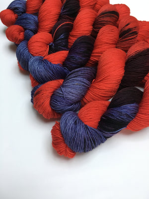 hand dyed red and purple yarn for knitting weaving and other crafts
