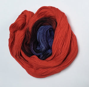 indie dyed poppy flower red and purple sock yarn