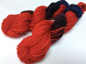 indie dyed red and purple merino singles chunky yarn for weaving