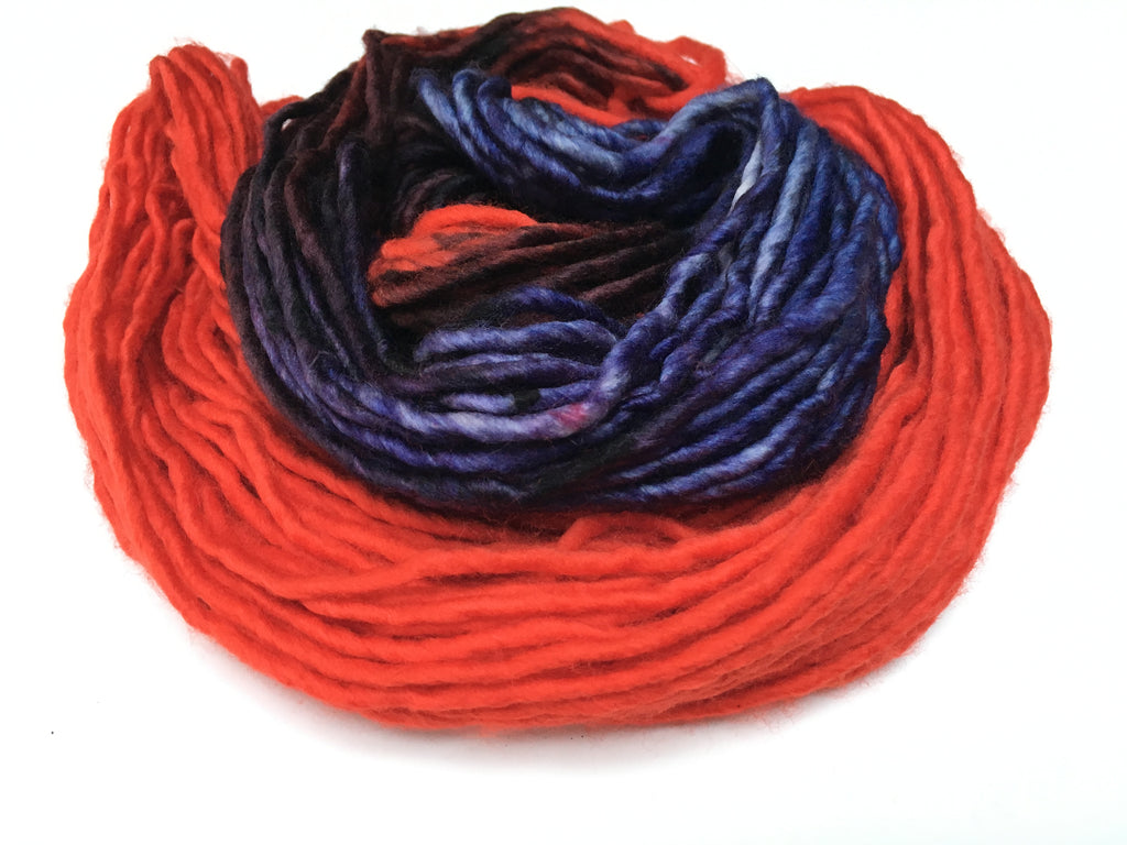 super chunky singles in poppy red and purple