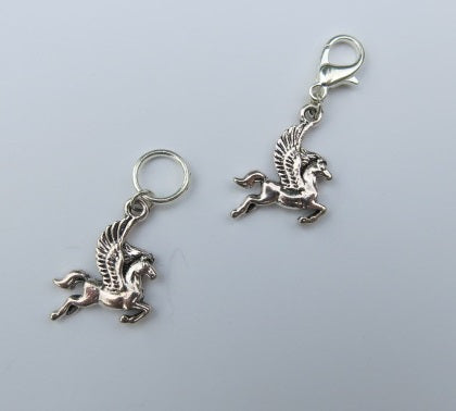 pegasus winged silver coloured horse charm on snagless jump rings and lobster clasps