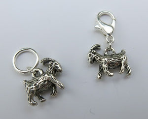 silver coloured 3d goat charm on a lobster clasp