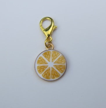 cute enamel stitch marker circular lemon slice in white and yellow
