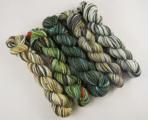 hand dyed mini skein set on british blue faced leicester wool