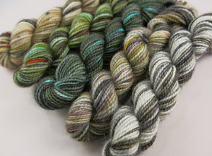 hand dyed grey brown and blue sock yarn mini skein set