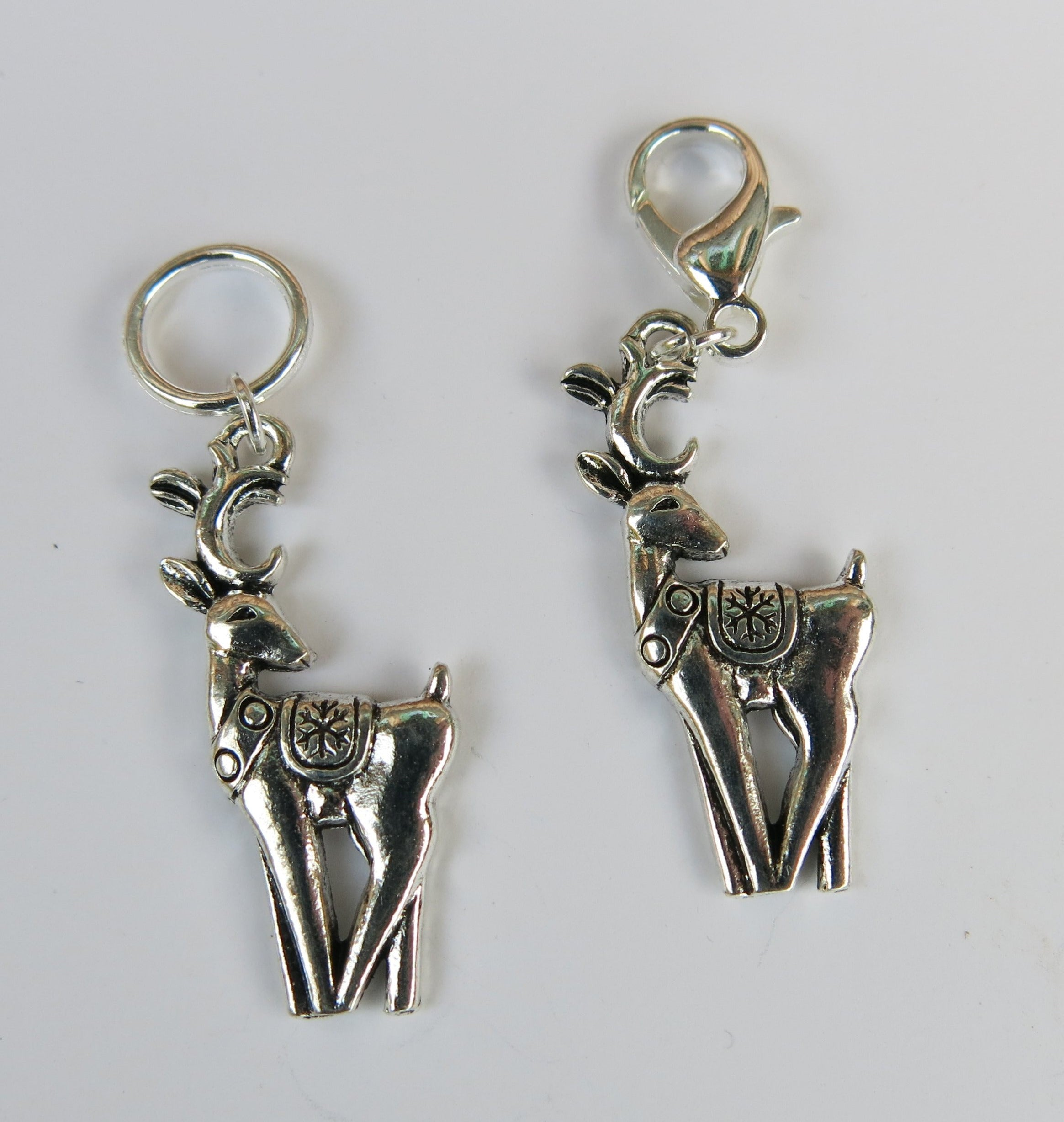 Santa's Reindeer Snagless Stitch Marker or Clasp Place Keeper