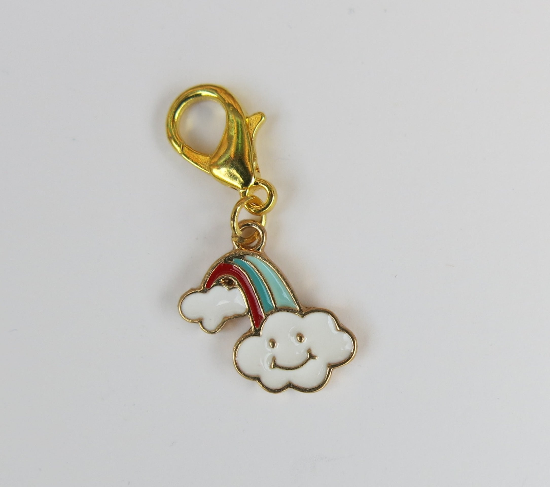 Red and Blue Happy Rainbow Cloud Stitch Marker or Place Keeper