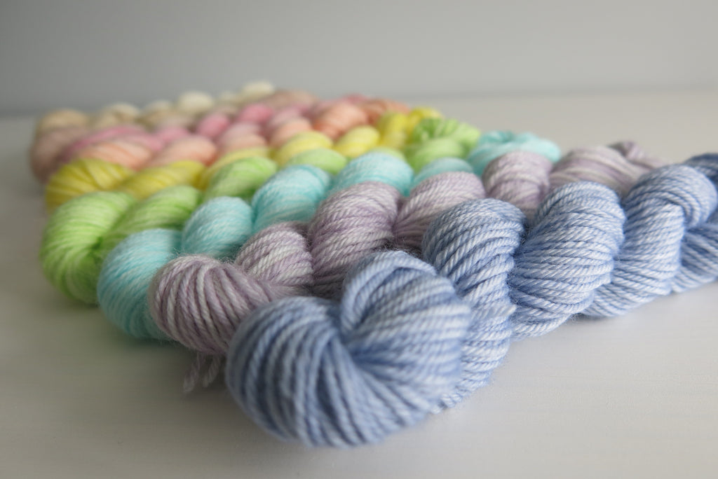 hand dyed pastel rainbow mini skein set on choufunga sock yarn
