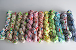 hand dyed pastel sock yarn mini skeins with speckles