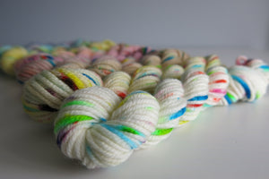 hand dyed superwash merino yarn minis with speckles